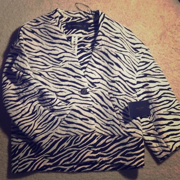 3c8467f85732 Zara Jackets & Coats   Zebra Print Jacquard Jacket   Poshmark